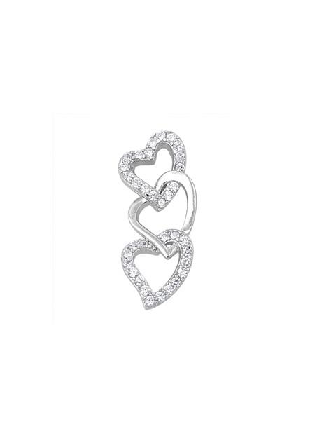Pendentif 3 Cœurs entrelacés argent 925 orné de zirconiums