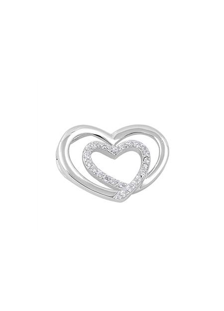 Pendentif 2 Cœurs argent 925 orné de zirconiums