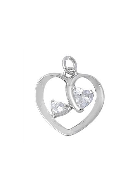 """Pendentif 2 Cœurs avec l'inscription au verso """"One love, Two hearts"""" en argent 925 orné de zirconiums"""