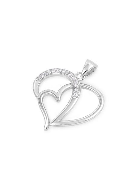 Pendentif 2 Cœurs entrelacés argent 925 orné de zirconiums