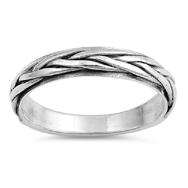 Bague anneau mixte tressée 4 mm Argent 925
