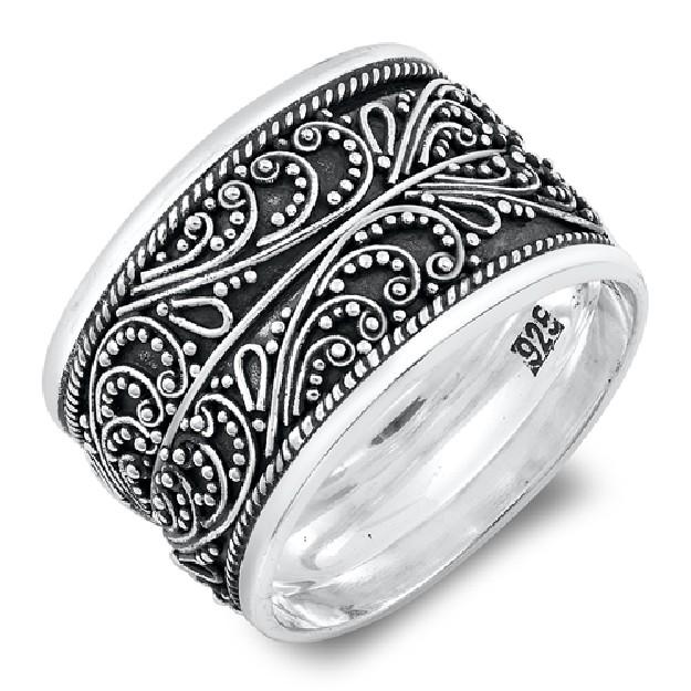 Bague anneau large arabesques Argent 925