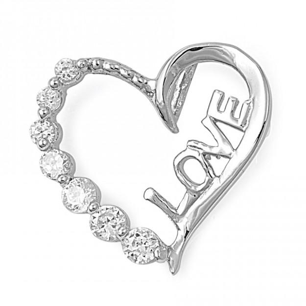 """Pendentif Cœur """"LOVE"""" argent 925 orné de zirconiums"""