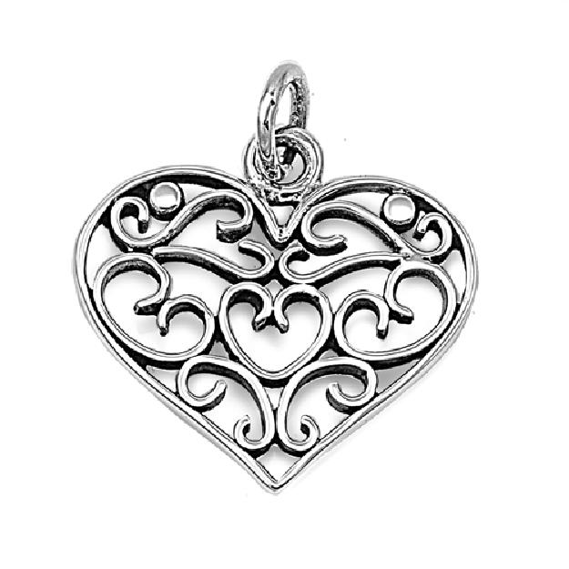 Pendentif Cœur ajouré de Cœurs argent 925