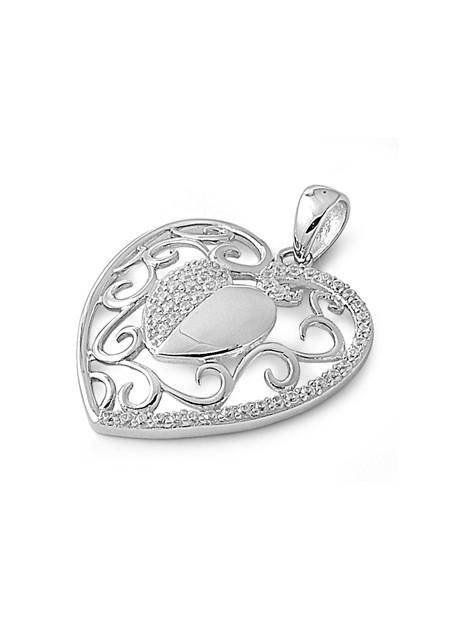 Pendentif 2 Cœurs en argent 925 orné de zirconiums