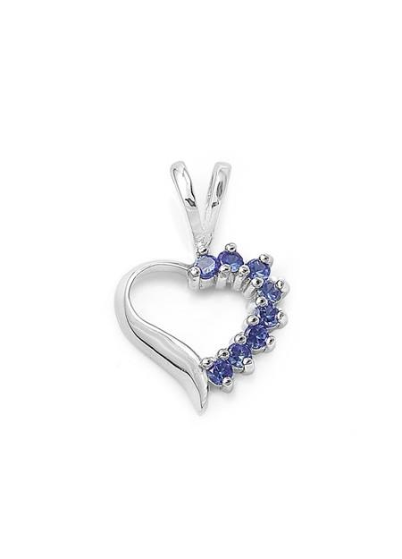 Pendentif Cœur argent 925 orné de Saphir bleu