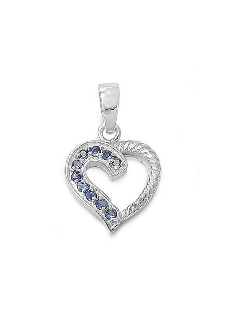 Pendentif Cœur argent 925 orné de Saphirs bleus et Zirconiums