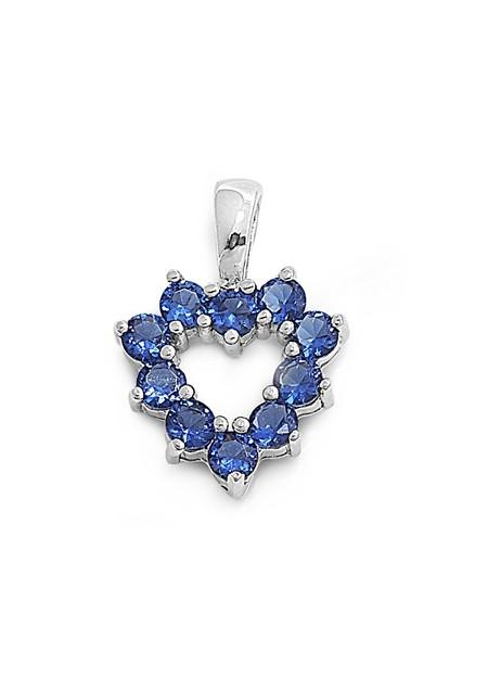 Pendentif Cœur argent 925 orné de Saphirs bleus