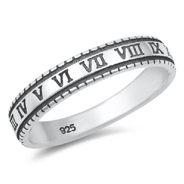 Bague anneau chiffres romains Argent 925