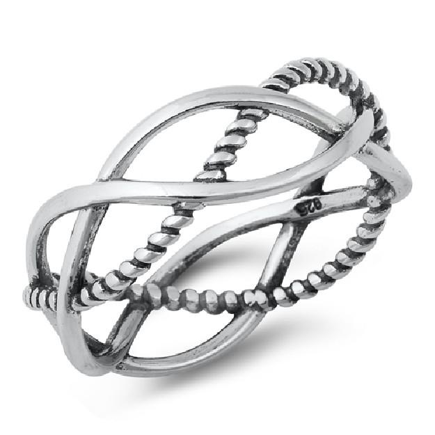 Bague anneau lisse & tressé Argent 925