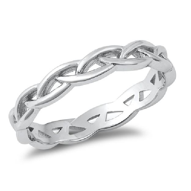 Bague anneau torsadée en Argent 925