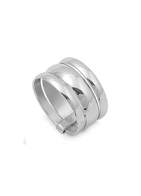 Bague large triple anneaux en Argent 925