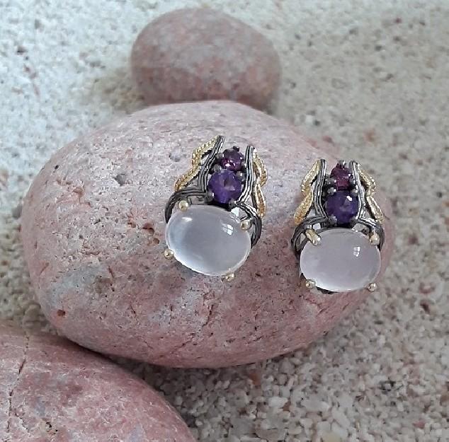 Boucles d'oreilles de créateur en Argent 925 Ornée Quartz rose & Améthyste
