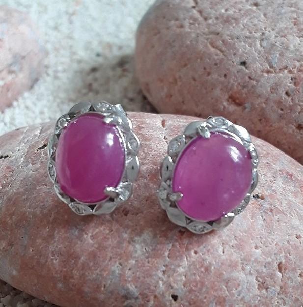 Boucles d'oreilles Créateur ornées Rubis rose en argent 925