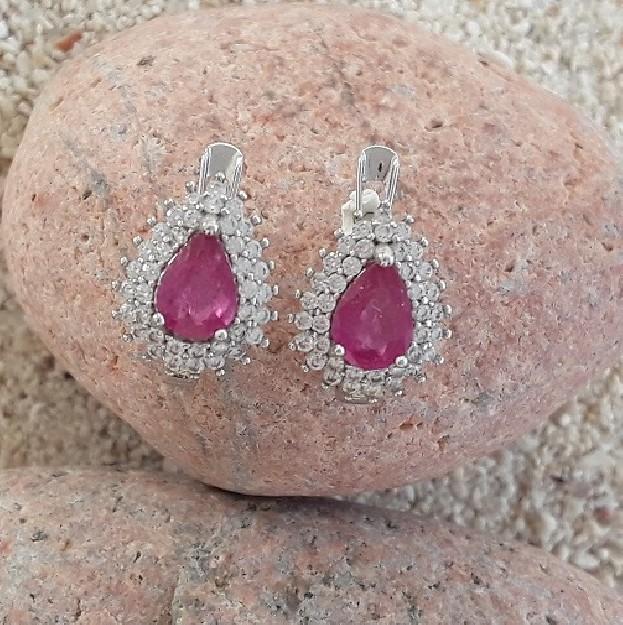 Boucles d'oreilles de Créateur Argent 925 & Rubis roses
