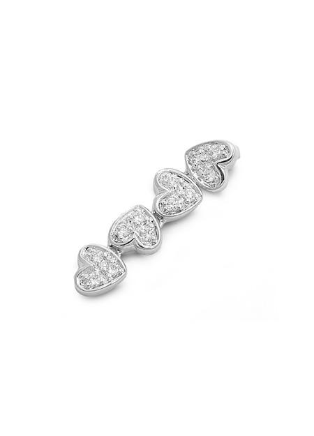 Pendentif Long 4 Cœurs argent 925 orné de zirconiums
