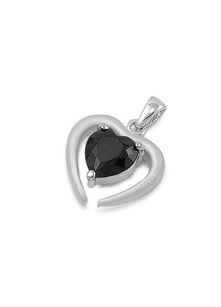 Pendentif Cœur argent 925 orné d'un zirconium noir