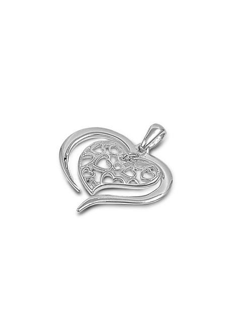 Pendentif Cœur ciselé argent 925 orné de zirconiums