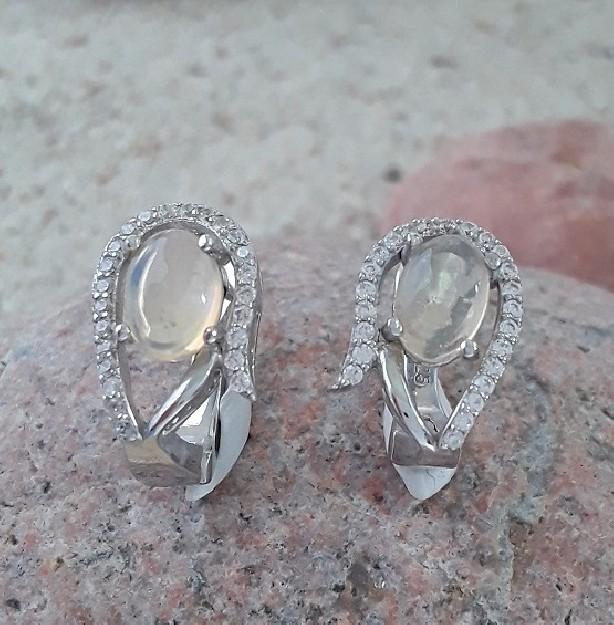 Jolies Boucles oreilles de Créateur argent 925 & Opales blanches