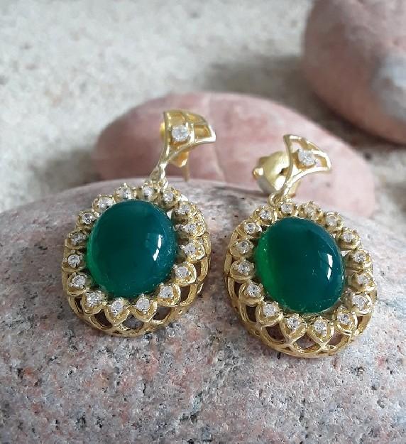 Boucles d'oreilles de Créateur Vermeil & ornées d'Onyx vert & zirconiums