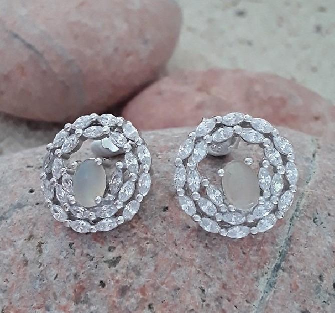 oucles d'oreilles de Créateur style art-déco argent 925 opale & zirconiums