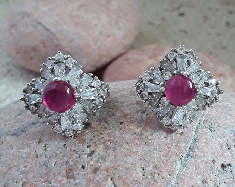 Boucles d'oreilles de Créateur style art-déco argent 925 rubis & zirconiums