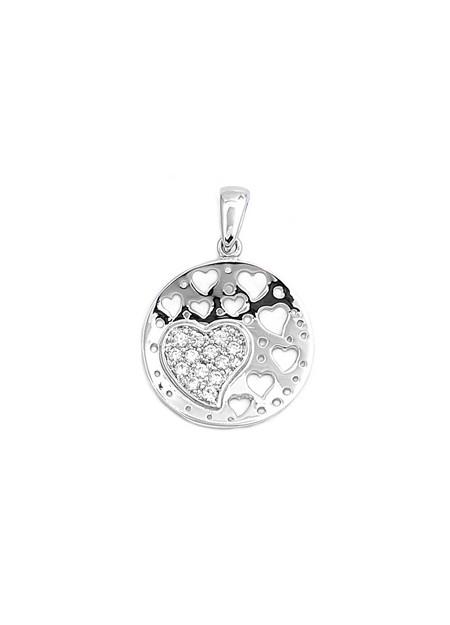 Pendentif médaillon Cœurs ajourés argent 925 & zirconiums