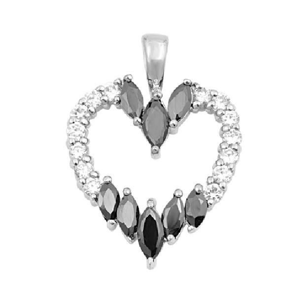 Pendentif Cœur argent 925 orné de zirconiums noirs