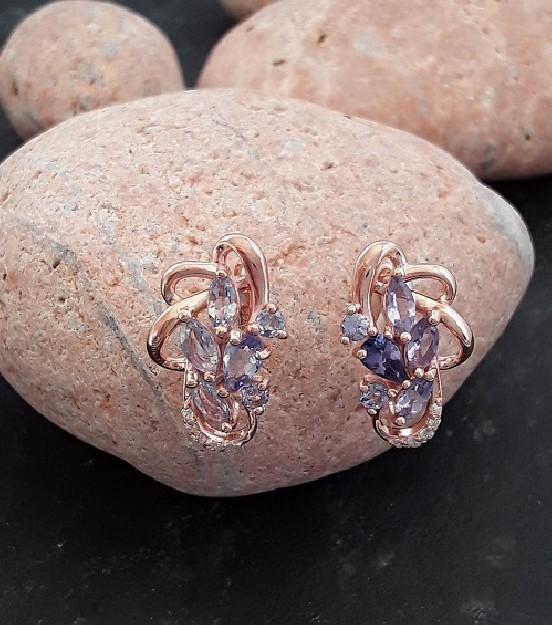 Sublimes Boucles d'oreilles de créateur ornées Améthystes en Vermeil