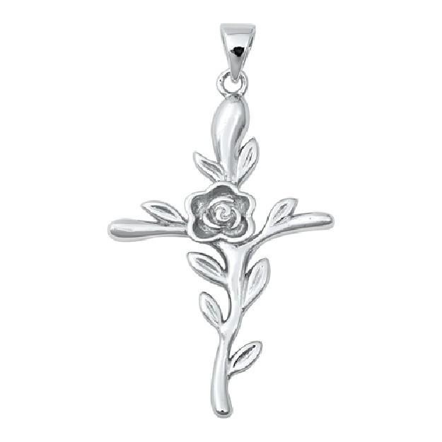 Pendentif Croix & Fleur en Argent 925