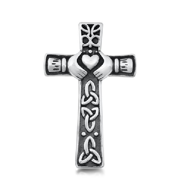 Pendentif Croix de Claddagh en Argent 925
