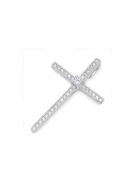 Pendentif Croix en Argent 925 orné de zirconiums