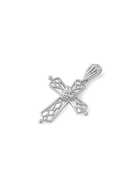 Pendentif Croix & Cœur en Argent 925 orné d'un zirconium