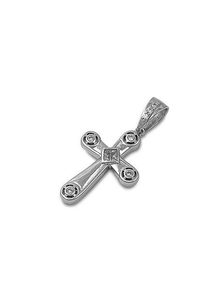 Pendentif Croix en Argent 925 orné d'un zirconium