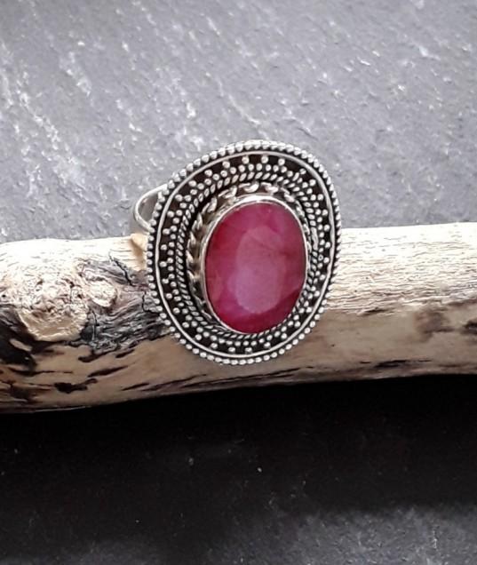 Bague en Argent 925 ornée Rubis opaque rose - TAILLE 54