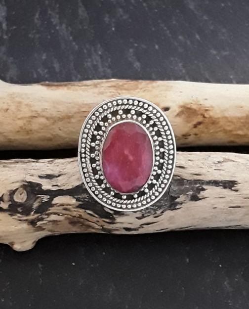 Bague en Argent 925 ornée Rubis opaque rose - TAILLE 55