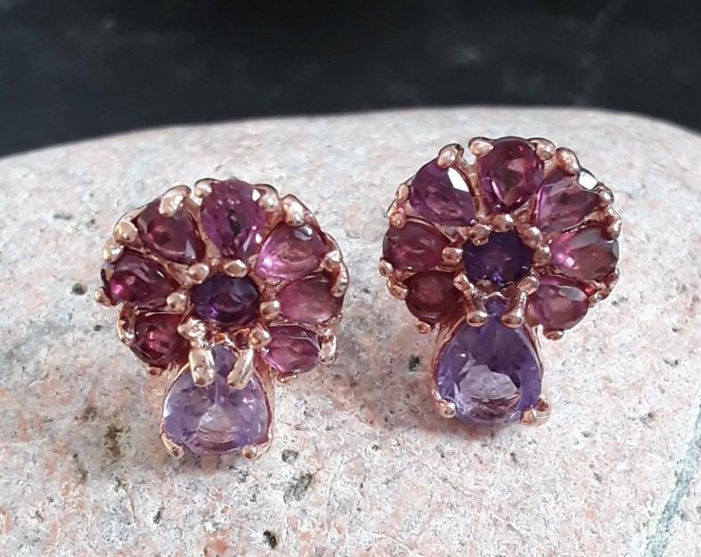Boucles d'oreilles de créateur en Vermeil ornées Quartz rose & Grenat