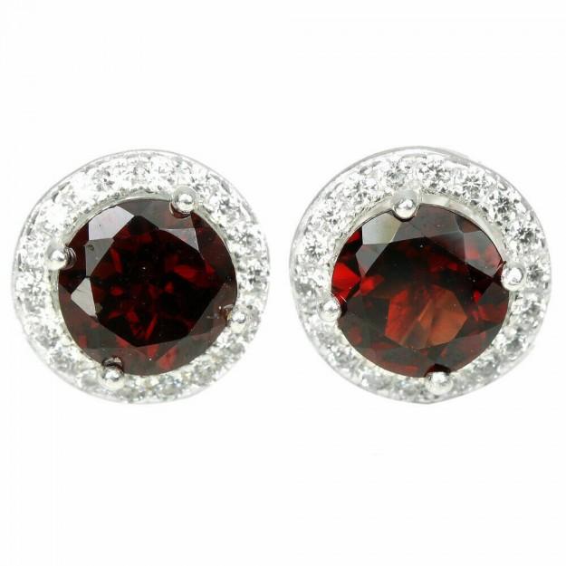 Boucles d'oreilles de Créateur en argent 925 ornées de Grenat rouge