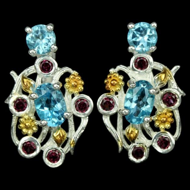 Belles Boucles d'oreilles de créateur 2 tons, Fleurs, Topazes bleues & Grenats en argent 925