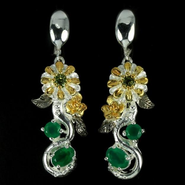 Belles Boucles d'oreilles de créateur 2 tons, Fleurs, Aventurines & Péridots verts en argent 925