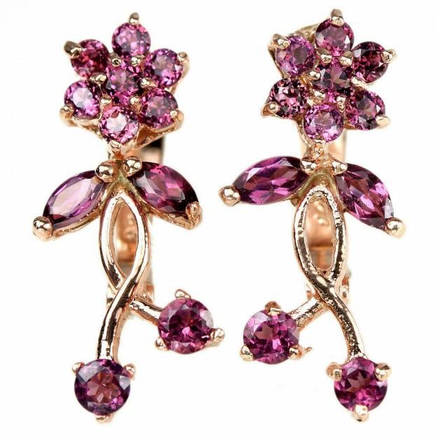 Boucles d'oreilles de Créateur Fleurs & Grenats roses, en Vermeil rose