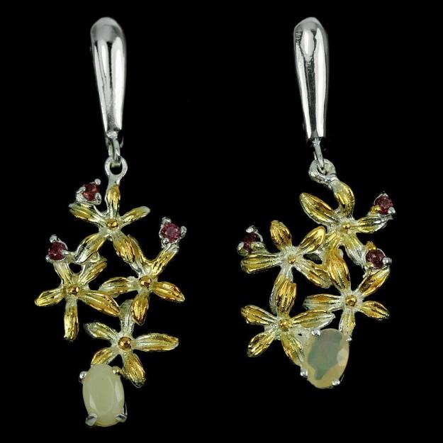 Belles Boucles d'oreilles de créateur, Opales & Grenats, 2 tons Argent 925 & Vermeil