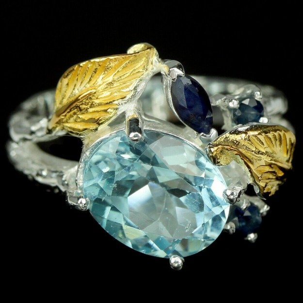 Belle Bague de créateur Topaze bleue & Saphirs, 2 tons Argent 925 & Vermeil - Taille 56