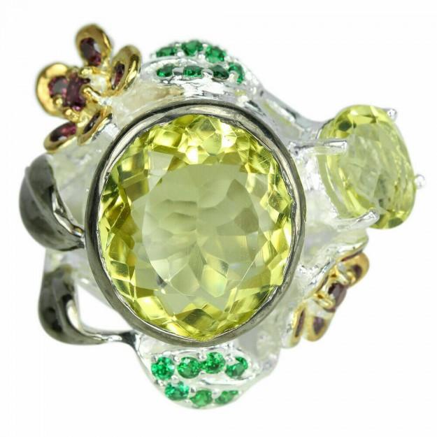 Belle Bague de créateur multi-pierres Quartz Lemon, Grenats & Diopsides, en Argent 925 - Taille 57
