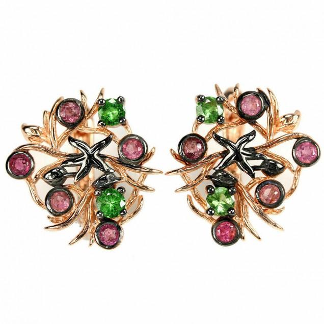 BOUCLES D'OREILLES de créateur design en Vermeil ornées de Péridot & rubis