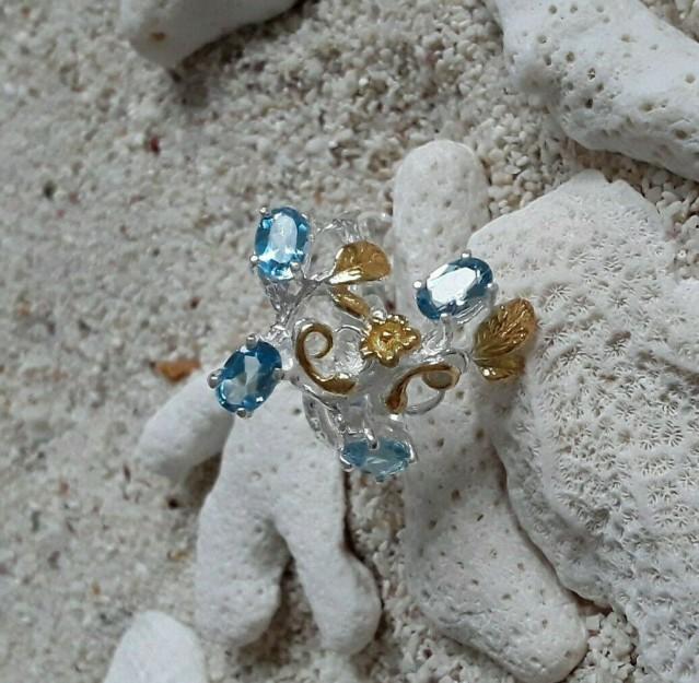 Belle Bague de créateur Topazes Bleues, 2 tons Argent 925 & Vermeil - Taille 58