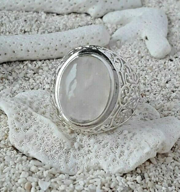 Bague de créateur Argent 925 ornée Pierre de Lune - Taille 59