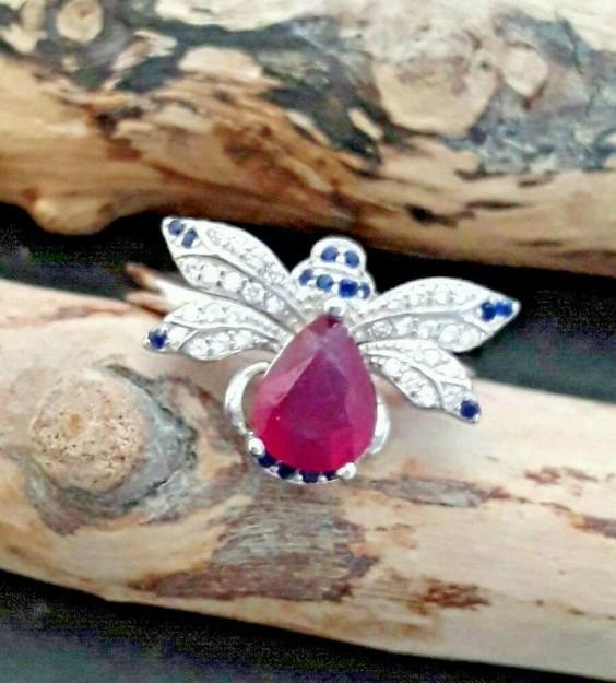 Bague de créateur Papillon multi-pierres Rubis, Saphirs & Zirconiums en Argent 925 - Taille 60