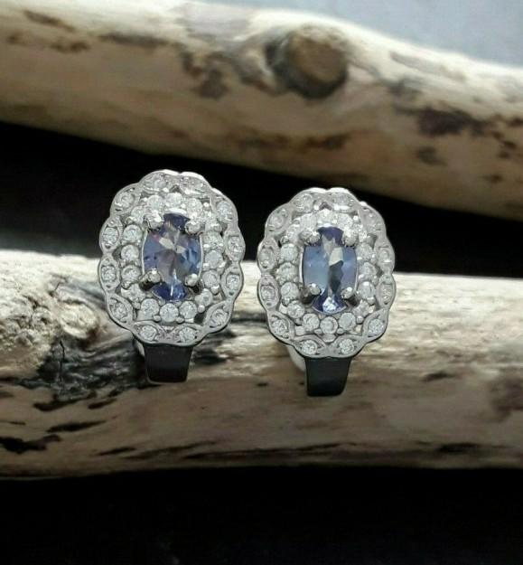 Boucles d'oreilles de Créateur argent 925 ornée Tanzanite & zirconiums