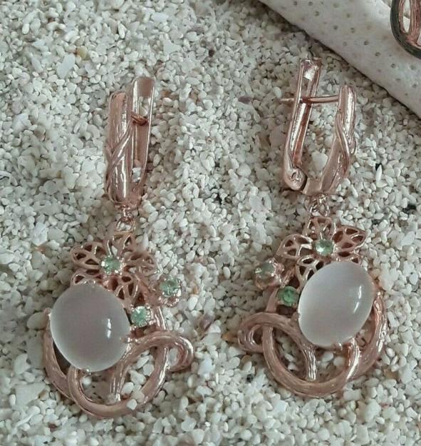 Boucles d'oreilles de Créateur Fleurs ornées de Quartz roses & Péridots , en Vermeil
